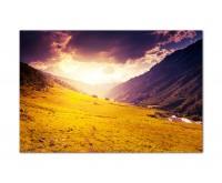 120x80cm Berge Wiese Landschaft Wolken Sonne