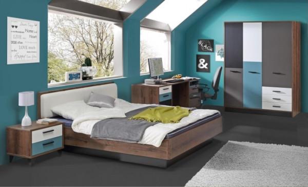 Jugendzimmer Raven 4tlg. 140er Bett mit Drehtürenschrank