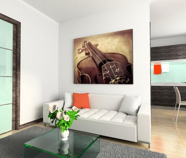 120x80cm Wandbild Violine Stillleben vintage