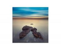 80x80cm Meer Wasser Steine Horizont Abendrot