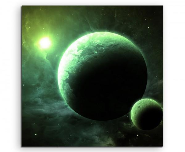 Illustration - Grüne Planeten mit Mond auf Leinwand
