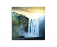 80x80cm Wasserfall Felsen Natur