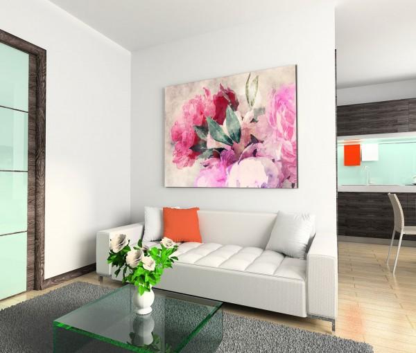 120x80cm Wandbild Wasserfarben Gemälde Blumen Blüten grunge