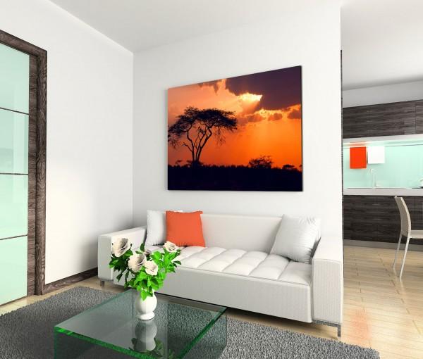 120x80cm Wandbild Afrika Baum Sonnenuntergang Wolken