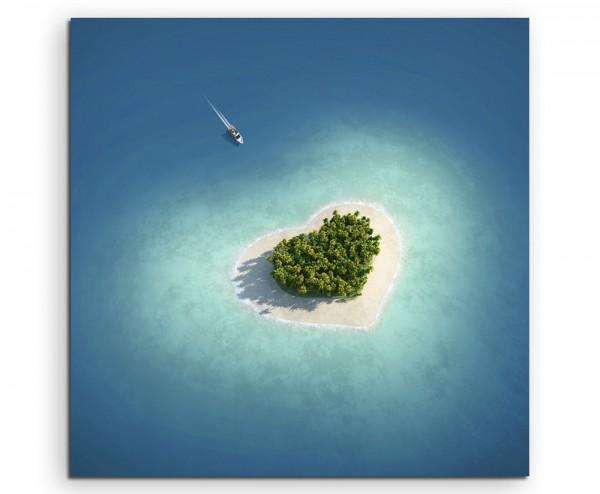 Landschaftsfotografie - Herzförmige Paradiesinsel auf Leinwand