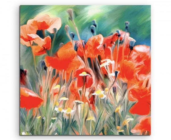 Gemälde von roten MohnBlumen im Feld auf Leinwand