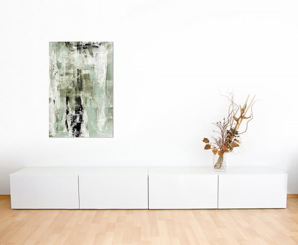 120x80cm Malerei Kunstwerk abstrakt beige/grün