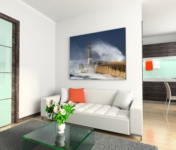 120x80cm Wandbild Meer Sturm Wellen Leuchtturm