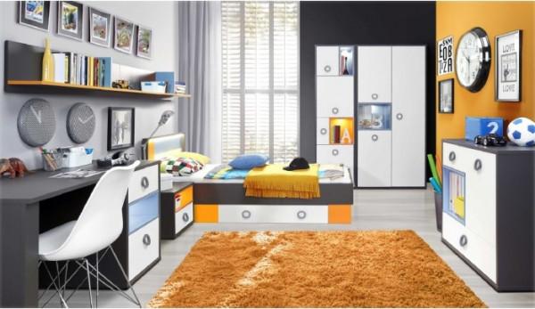 Jugendzimmer Colors 8tlg mit 140er Bett und 3trg. Schrank