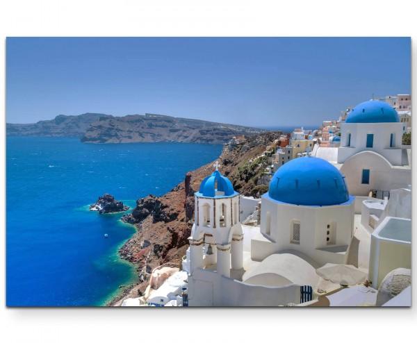 Fotografie – Santorini Kirchenglocke und Kuppeldächer - Leinwandbild