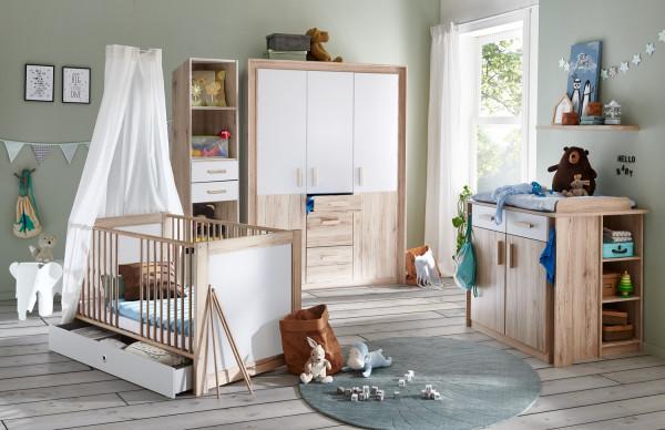 """Babyzimmer Emy """"Kiruna"""" in Eiche San Remo und Weiß 6 teiliges Megaset +++ von möbel-direkt+++ schnell und günstig"""