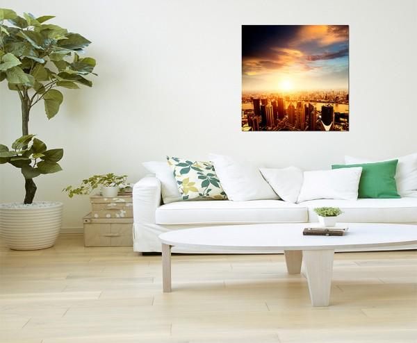80x80cm Shanghai Skyline Wasser Sonne Wolken