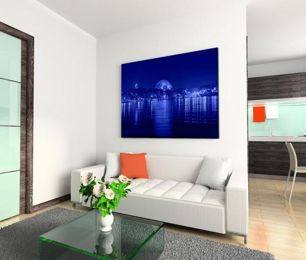 120x80cm Wandbild Istanbul Galataturm und -brücke Bosporus Nacht