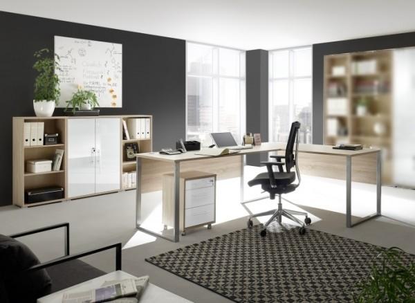 Büromöbel Office Line Luxo Eiche 5 teilig I