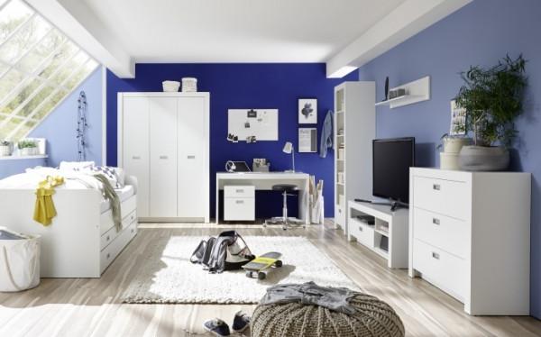 Jugendzimmer Alaska in Weiß 7 teiliges Megaset mit Kleiderschrank, Tandemliege, Kommode, TV- Schrank