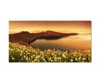 120x60cm Santorini Bucht Blumen Meer Felsen