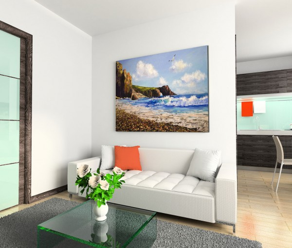 120x80cm Wandbild Ölgemälde Meer Strand Klippe Seemöwe
