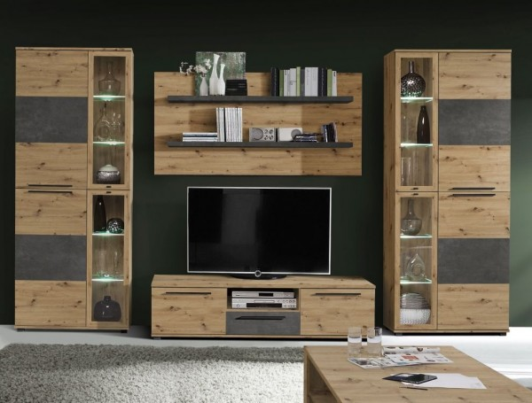 Wohnwand Allister in Artisan Eiche und Betonoptik Dunkelgrau 4 teilig von Forte +++ von möbel-direkt+++ schnell und günstig
