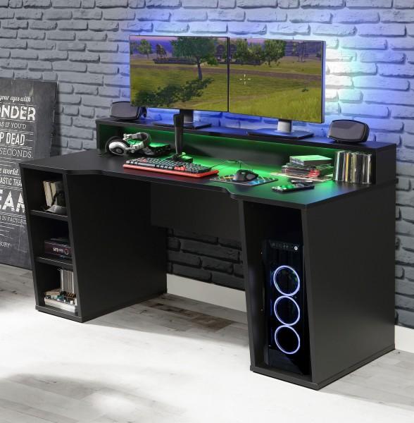 FORTE Gamingtisch Tezaur in Schwarz mit RGB-Beleuchtung+++ von möbel-direkt+++ schnell und günstig