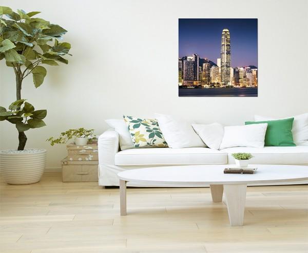 80x80cm Hong Kong Skyline Nacht Gebäude
