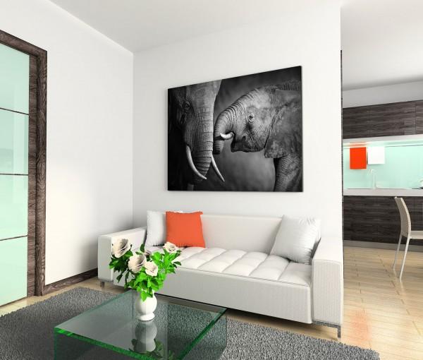 120x80cm Wandbild Elefanten Mama Baby Nahaufnahme