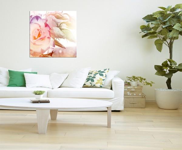 80x80cm Rosenblüte Nahaufnahme Romantik