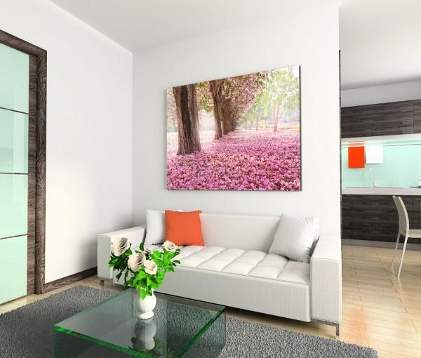 120x80cm Wandbild Bäume Blüten Weg Sonnenlicht