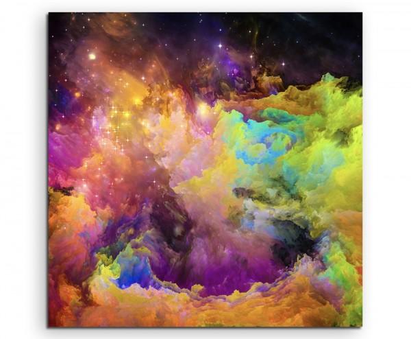 Knallige bunte Farbwolken auf Leinwand