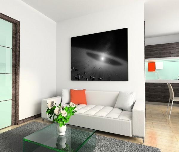 120x80cm Wandbild Asteroid Licht Weltraum Steine