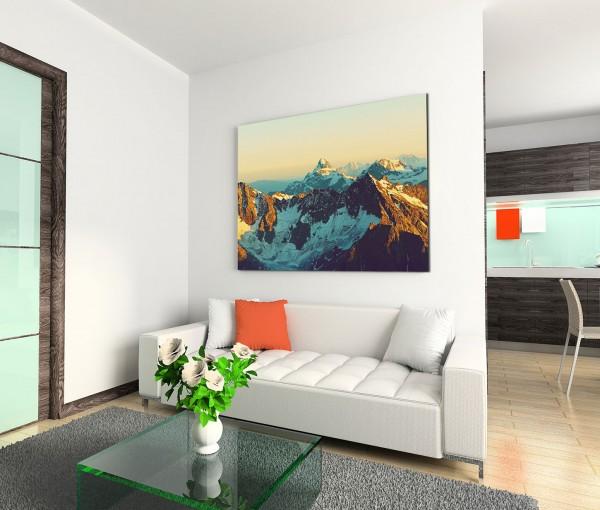 120x80cm Wandbild Gebirge Berggipfel Schnee Sonnenschein