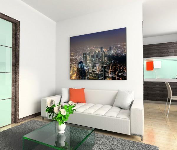 120x80cm Wandbild Istanbul Skyline Gebäude modern Lichter Nacht