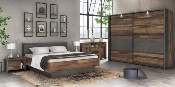 Schlafzimmer Clif in Old Wood Vintage kombiniert mit Betonoptik dunkelgrau von Forte 7 teiliges Mega