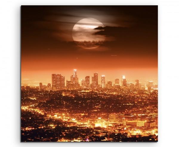 Urbane Fotografie – Dramatischer Vollmond über Los Angeles, USA auf Leinwand