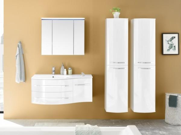 Badezimmer Salinas voll montiert echte Hochglanzfronten Lack 3 teiliges Set
