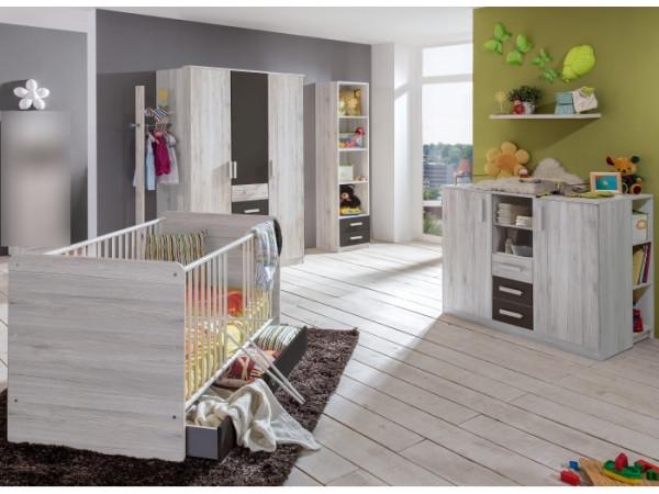 Babyzimmer Cariba in Weißeiche und Graphit von Wimex 9 teiliges Megaset mit Schrank, Bett mit Latten