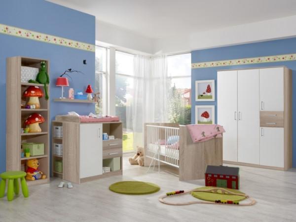 Babyzimmer Nicki in Eiche Sägerau und Weiß von Wimex 8 teiliges Megaset mit 4 türigem Schrank, Bett