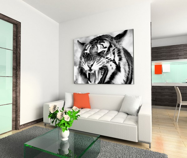 120x80cm Wandbild Tiger Gebrüll Nahaufnahme schwarz weiß