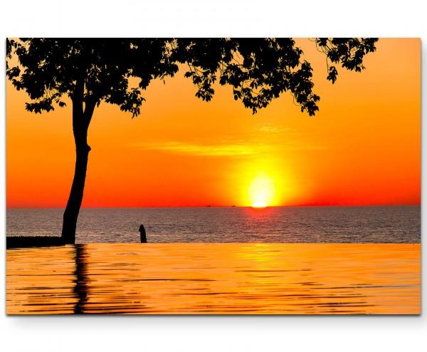 Orangener Sonnenuntergang am See - Leinwandbild
