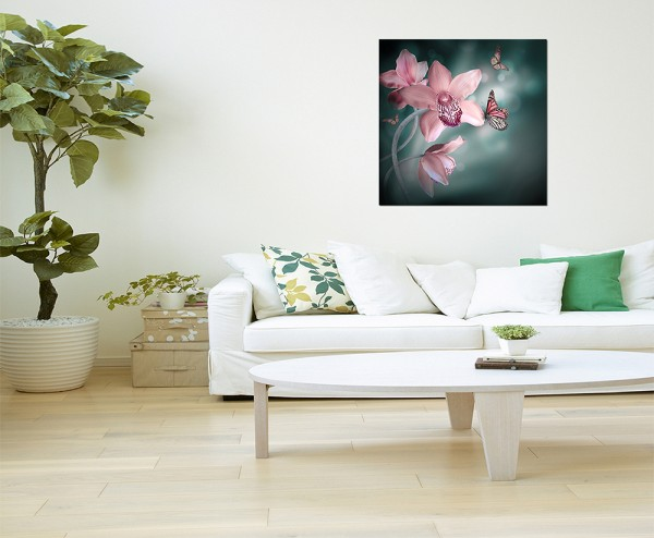 80x80cm Orchidee Schmetterlinge Blüte