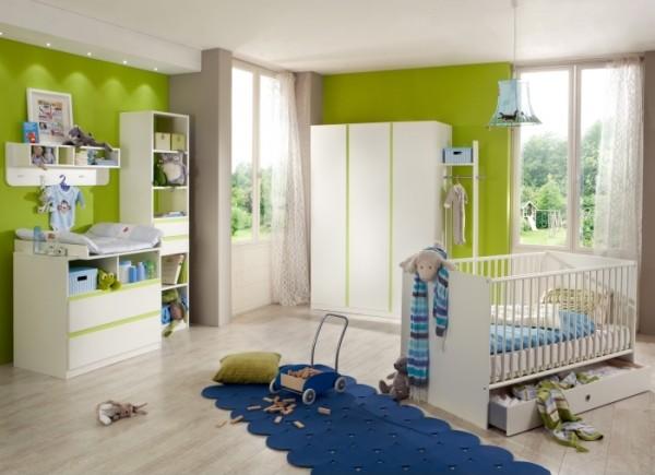 Babyzimmer Bibi 4-teilig Weiß-Apfelgrün