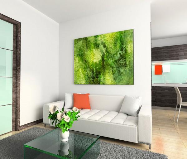 120x80cm Wandbild Hintergrund Herbst Blätter abstrakt grün schwarz gelb