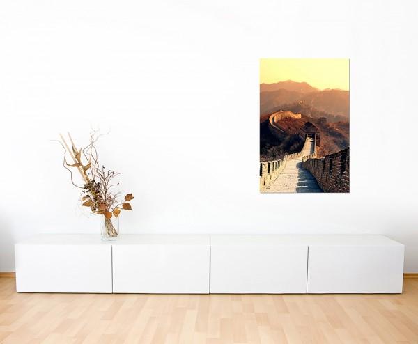 120x60cm China Mauer Berge Morgenlicht Natur