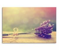 120x80cm Wandbild Blumenstrauß Lavendel vintage
