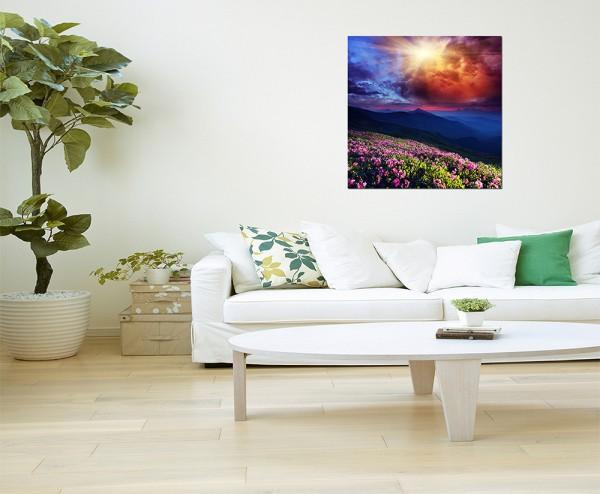 80x80cm Blumenwiese Berge Sonne Wolken Landschaft