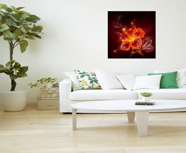 80x80cm Hibiskus Blüte Feuer Flammen Rauch