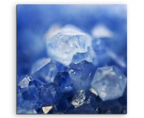 Künstlerische Fotografie – Dunkelblaue Quartzkristalle auf Leinwand exklusives Wandbild moderne Foto