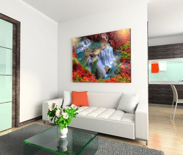 120x80cm Wandbild Thailand Wald Wasserfall Sonnenlicht