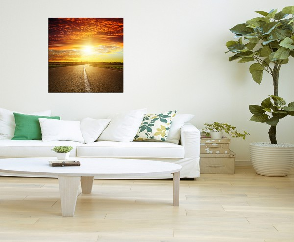 80x80cm Straße Landschaft Sonnenuntergang