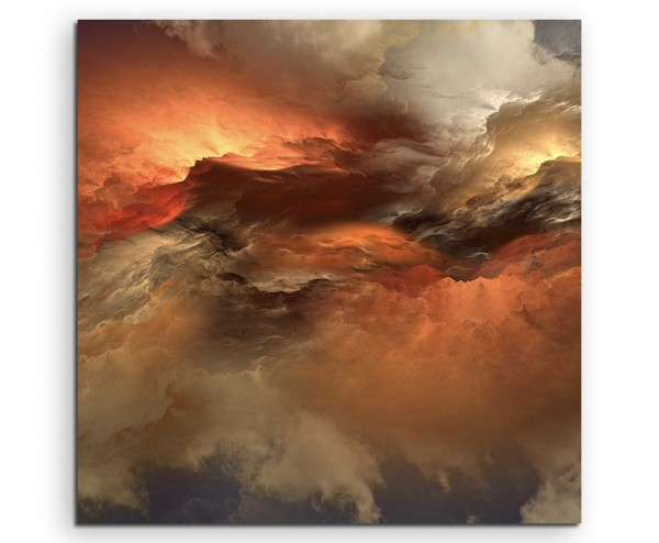Orange grauer Wolkenhimmel auf Leinwand