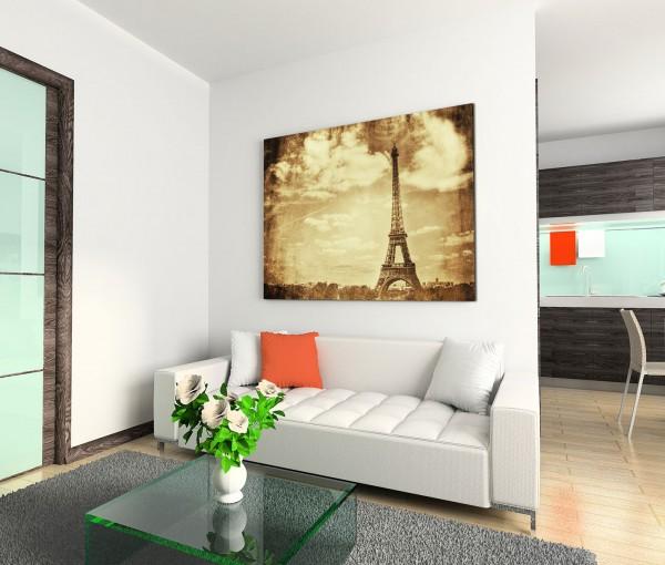 120x80cm Wandbild Paris Eiffelturm Sepia vintage